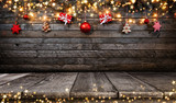 Christmas rustic background with wooden planks - 233771287