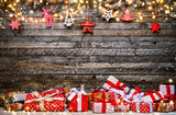 Christmas rustic background with wooden planks - 233771480
