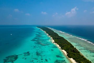 Maldives aerial view panorama landscape white sand beach