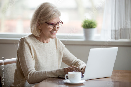 Leinwandbild Motiv Happy aged woman in glasses working at laptop drinking tea, smiling senior female using computer browsing or surfing internet, reading news online, excited elderly lady texting message at pc at home