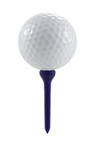 Golf ball on blue tee with clipping path