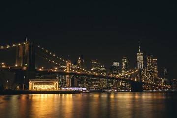 Brooklyn bridge and lower manhattan at night