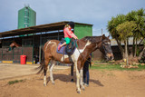 Four years old blonde girl with equestrian cap climb a white and brown horse in a riding school - 233795871