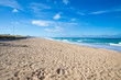 beautiful lonely long Palmar Beach with sand and turquoise ocean water in Vejer village (Cadiz, Andalusia, Spain)