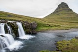 Waterfall and montain in iceland Kirkjufell