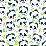 Panda pattern seamless background © moh