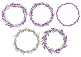 Set of 5 watercolor wreath lavender flowers on white background.  - 233803679