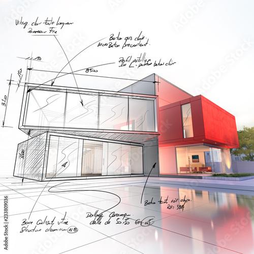 Leinwandbild Motiv Luxury house project draft