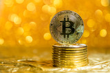 bitcoin coins on a gold background - 233810410