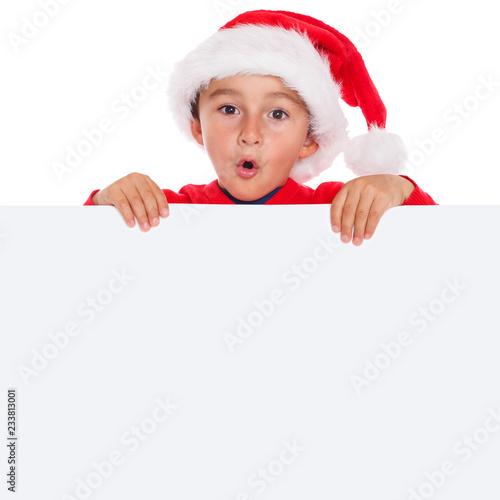 Leinwanddruck Bild Kind Weihnachtsmann Nikolaus Weihnachten Weihnachtskarte Karte Textfreiraum Copyspace Quadrat überrascht erstaunt Überraschung Freisteller