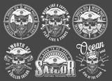 Vintage monochrome sailing and marine emblems