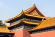 Details of roof and carvings in Forbidden City in Beijing