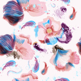 Abstract vector pink blue flowers pattern with spots in grunge style - 233834436