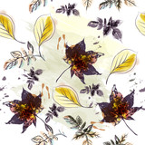 Autumn floral pattern with maple leaves - 233835010