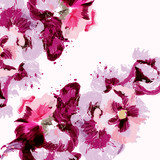Fashion watercolor background with flowers in pink - 233836291