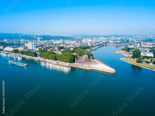 Leinwandbild Motiv Koblenz city skyline in Germany
