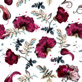Floral vector flower pattern with watercolor pink and blue wild rose - 233836639