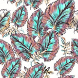 Floral vector leaf pattern with watercolor pink and blue leaves - 233836864
