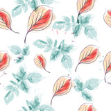 Spring vector floral pattern with blue leaves - 233837649