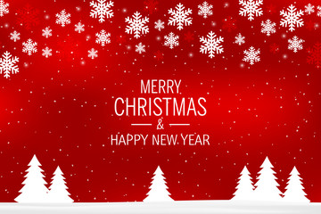 A red christmas background with snowflakes and greetings: Merry Christmas and Happy New Year.