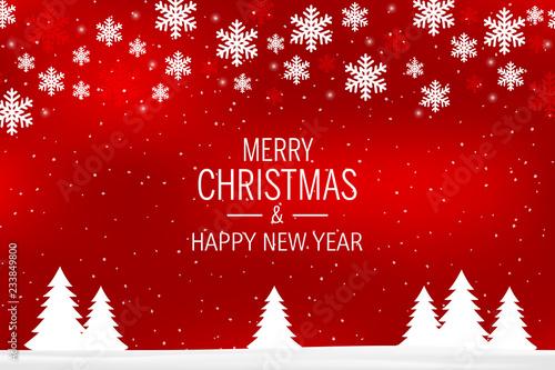 Czerwone tło Boże Narodzenie z płatki śniegu i pozdrowienia: Wesołych Świąt i Szczęśliwego Nowego Roku.