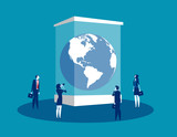 Globe in a museum glass box. Concept business vector illustration, Extinct, People, Looking and Searching. - 233852295