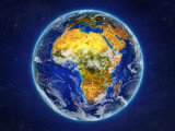 Africa from space on realistic model of planet Earth with country borders and detailed planet surface and clouds.
