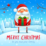 Merry Christmas! Santa Claus with gift present in Christmas snow scene winter landscape. - 233874835