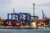 Odessa, Ukraine: Container terminal of sea commercial port.