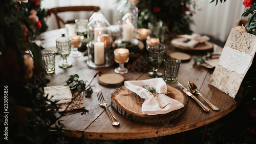 table with wedding decorations - 233895856