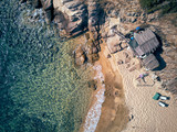 Man in hammock on a beach aerial view - 233897448