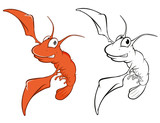 Vector Illustration of a Cute Red Shrimp Cartoon Character. Coloring Book