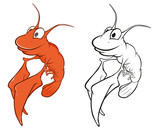 Vector Illustration of a Cute Red Shrimp Cartoon Character. Coloring Book © liusa