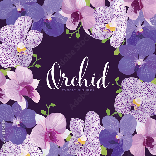 Orchid flower frame on purple background. Vector set of exotic tropical garden for holiday invitations, greeting card and fashion design.