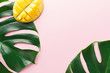 Monstera green leaves with mango on pink - 233908670
