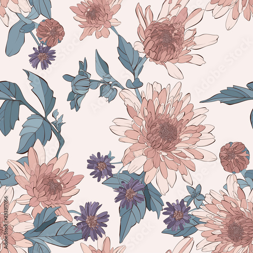 Vintage hand drawn botanical vector illustration.  Seamless pattern with dahlia and aster flowers. - 233917056