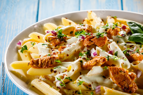 Pasta carbonara and vegetables - 233922687