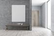 Leinwandbild Motiv Bench in modern bathroom, poster