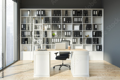 Leinwandbild Motiv Gray manager office interior