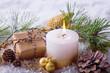 Leinwandbild Motiv Kerze und Geschenk zu Weihnachten