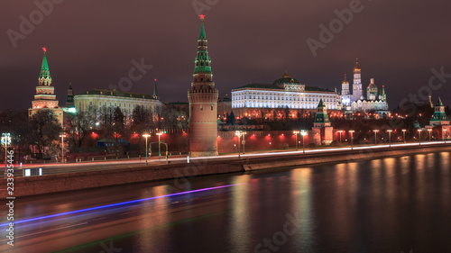 Night View over the Moskva River to the Kremlin in Moscow at night