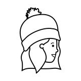head of woman with winter hat avatar character - 233937071