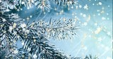 Christmas background with fir branches, lights and snowflakes. New year texture. - 233942049