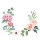 Frame border background. Floral wedding card with hortensia, rose, anemone and eucalyptus branch. Vector illustration - 233952035