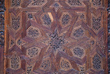 Ceiling with carved wooden pattern in Madrasa Bou Inania wooded