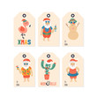 Christmas holiday cute gift tags and labels set with Santa Claus character on sea beach.