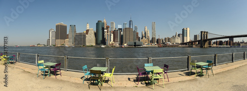 Panorama of the financial district in lower Manhattan from Brooklyn Bridge Park, New York. - 233971813