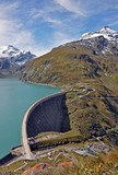 Dam lake Mooserboden the snowy peaks of the Hohe Tauern. Austria. - 233974840