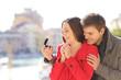 Quadro Man proposing marriage to his happy girlfriend