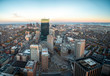 Wide Angle Aerial View of Downtown Boston At Sunset with Clear Skies